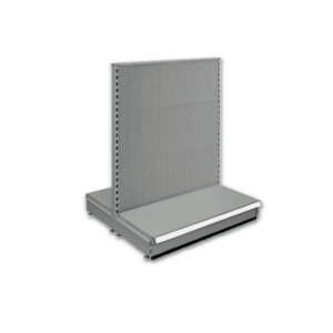 Double sided pegboard gondola - retail shop shelving system - Silver