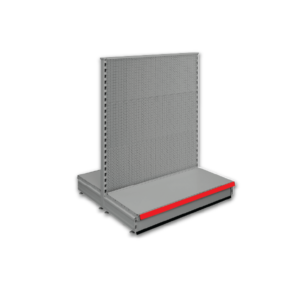 Double sided pegboard gondola - retail shop shelving system - Silver & Red