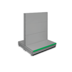 Double sided gondola - retail shop shelving system - Silver & Green