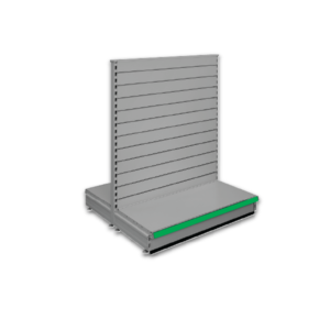 Double sided slatted gondola - retail shop shelving system - Silver & Green