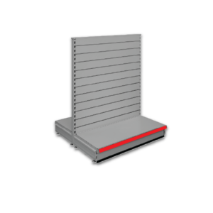 Double sided slatted gondola - retail shop shelving system - Silver & Red