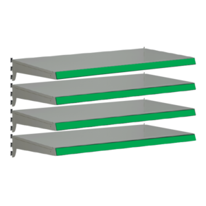 Pack of 4 complete heavy duty shelves for Evolve S50i - Silver & Green