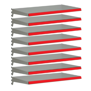 Pack of 8 complete heavy duty shelves for Evolve S50i - Silver & Red