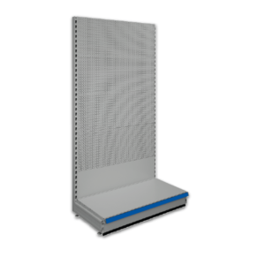 Pegboard shop shelving bays - Silver 9006 & Blue